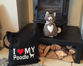 I Love My Poodle Tote Bag- Great For School, Book Bag, Birthday, Mothers Day Gift