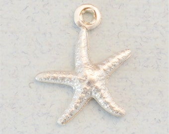 Add a Sterling Silver Starfish Charm to a Necklace or Bracelet, Nautical Wedding Necklace Idea, Bridesmaid Necklace Idea (S107)