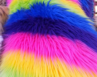 Multi color rainbow fake fur. Sold by the yard.