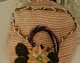 Vintage Ladies Hat * Woven floral * Blush pink/peach *  Cap Style * Weddings, Showers, Luncheons, Derby, Prom, Graduation, Holidays