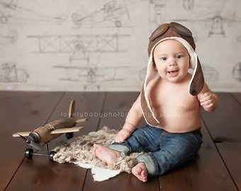 Photography Backdrop Aviator, Newborn Photography Backdrop, Vinyl Photography Backdrop, Baby Photography Backdrop for Boys Airplanes -CTP123
