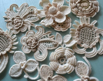 "Irish crochet  Motif crochet  Decor Jacket  Ivore   Evening dress  Boho style  White  Flowers leaves Crochet Handmade  Size 2""- 4"" (5-10 cm)"