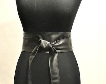 Black leather obi belts Black belt Leather obi belt
