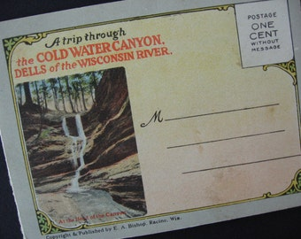Vintage Souvenir Folder of Cold Water Canyon, Wisconsin Colored Photos 1900's