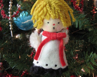 Vintage Hallmark Yarn and Felt Christmas Ornament Choir Boy 1970's