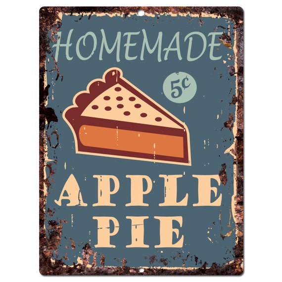 PP0396 Old Rust Homemade APPLE PIE Plate Sign Bar By Pinkicee