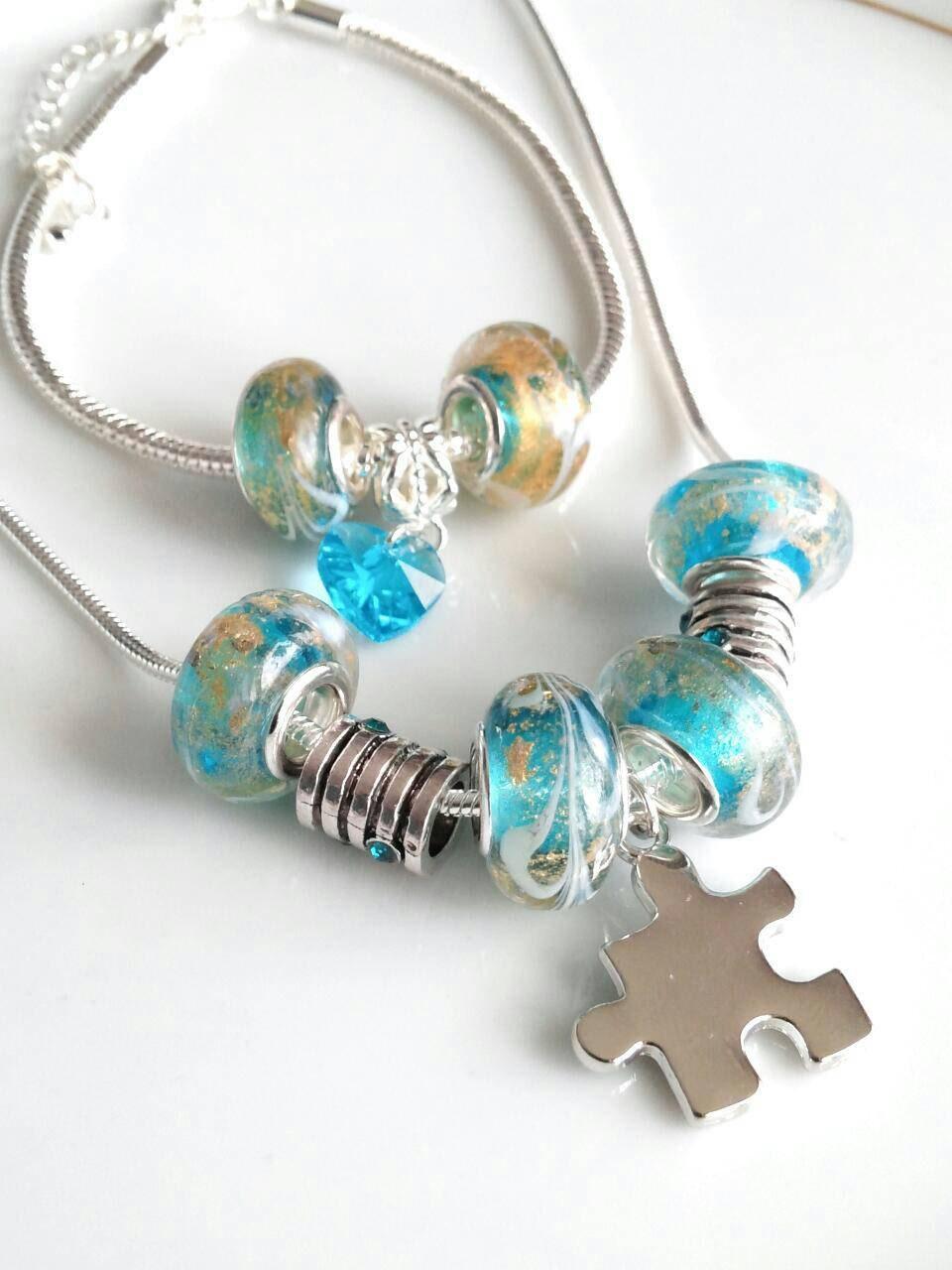 autism necklace autism bracelet set autism awareness jewelry