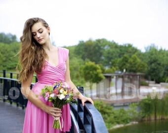 Bridesmaid Dress Infinity Dress Violet Knee Length Wrap Convertible Dress Wedding Dress