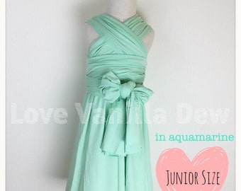 Junior Bridesmaid Dress Infinity Dress  Aquamarine Convertible Dress Multiway Wrap Dress