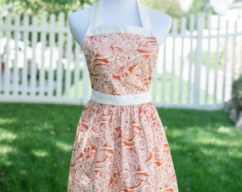 Cute Orange and Cream apron with Button Top, Regular and Large sizes