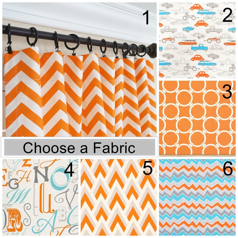 🔎zoom - Orange Curtain Panels Orange Aqua Blue Curtains Nursery