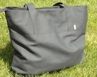 Gym Yoga Shopping Diaper Travel Weekender 20 x 16  Black Solid Canvas Large Tote Bag  Zipped