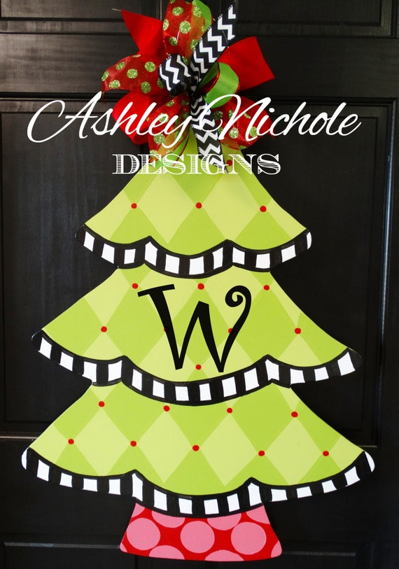 Harlequin Christmas Tree Door Hanger Christmas Door Decor