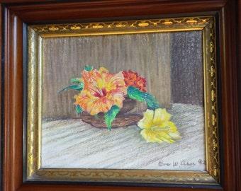 Hand-Painted Hibiscus Framed Oil Pastel Original Piece