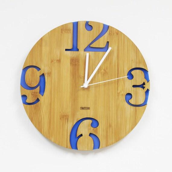 Modern Big Numbers Wall Clock Blue by