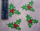 4 CHRISTMAS HOLLY die cuts pre assembled prefect for cardmaking and scrapbooking