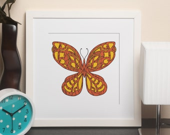 Alphabet Animals - B is for Butterfly framed print