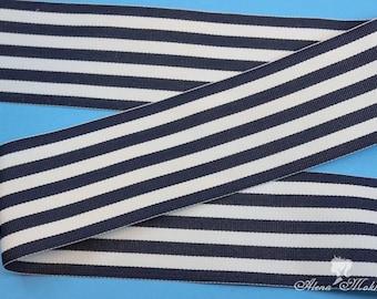 """5 yards 2 1/4"""" Navy White Stripes Monarch Woven Grosgrain Ribbon"""