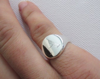 Round signet ring solid silver with personalised engraving