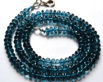 137.50.Carats, AAA Quality 18 Inches Natural ,Super Rare  Natural London Blue Topaz Micro Faceted Rondelle Shape Beads Necklace 5 TO 5.5 MM