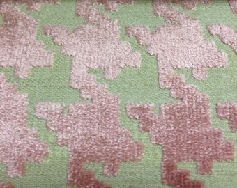 Pink Houndstooth Fabric - Upholstery Fabric By The Yard