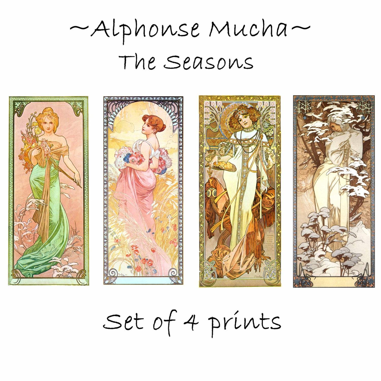 Art Nouveau Alphonse Mucha: THE SEASONS c.1900 by ArtDasherie