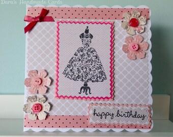 Handmade Dress Card - Birthday, Thank You, Congratulations - Personalised!