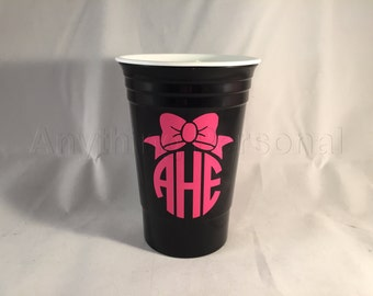 Personalized Solo Cup, Bow Monogram Solo Cup, Reusable Solo, Personalized Party Cup, Spring Break, Preppy Gift, Party Cup, 21st Birthday
