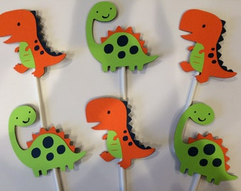 12 dinosaur cupcake toppers