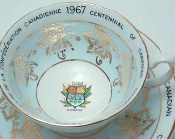 Royal Grafton Fine Bone China Tea Cup and Saucer Made in England 1867 1967 Centennial of Canadian Confederation Pale Blue Maple Leaves