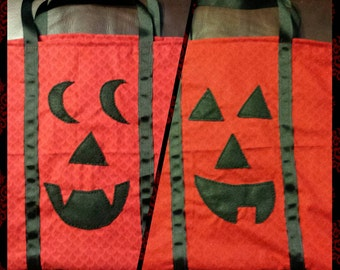 Hand Sewn Oversized Jack O' Lantern Tote Bag/ Trick or Treat Bag (100% Cotton Fabric with Felt Hand Stitched Faces)