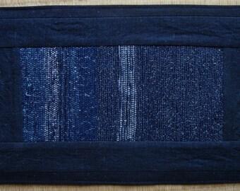 Sakiori Mat, vintage Japanese rag weave and indigo-dyed cotton fabric