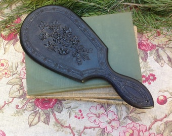 Victorian Hand Mirror Thermo Plactic Beveled Mirror Gutta Percha Civil War Black Mourning Mirror