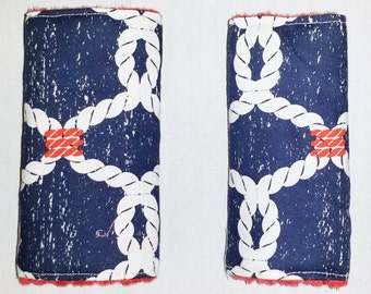Reversible Infant Car Seat Strap Covers - Nautical Rope and Red