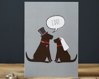Labrador wedding or engagement card - choice of black, yellow or chocolate lab