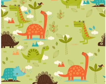 Dinosaur -  Green Main -  Fabric Collection By Riley Blake Designs - Designer Fabric By the Half Yard
