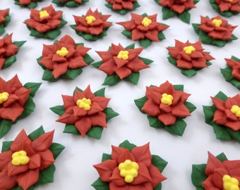 24 count sugar poinsettias, cupcake poinsettia topper, royal icing poinsettia, Christmas cupcakes