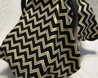 Custom Infant Carrier Cover For Baby Boy Girl Shower Gift Car Seat Canopy Tent Black Gold Chevron