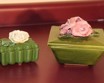Vintage Green Ceramic Candy Trinket dish with Pink Roses and top cottage style signed Hal Buress
