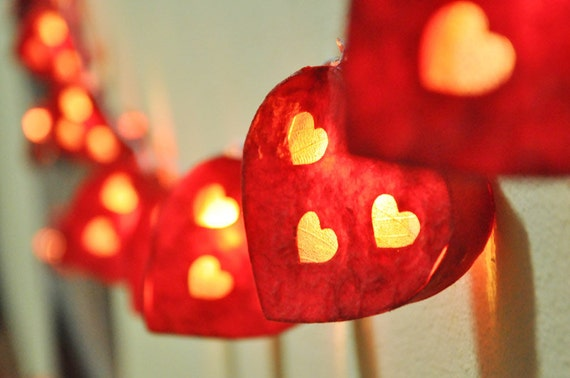 Items similar to Red Heart paper Lantern String Lights for Party,Wedding,Bedroom,Garland ...