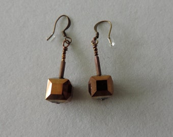 Copper Crystal Earrings,