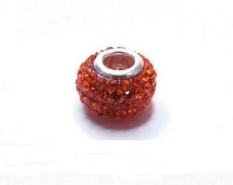 1 Pcs Pearl large hole with shiny rhinestones Orange