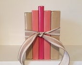 Coral Rose Pink Beige Tan Decorative Book Set and Bundle- perfect for Photo Prop, Wedding Decor, Bookshelf, or Entry Table