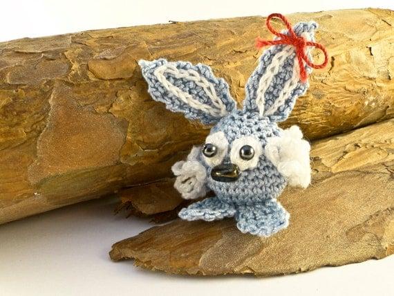 Amigurumi Crochet Rabbit with a red bow Easter Crochet Rabbit