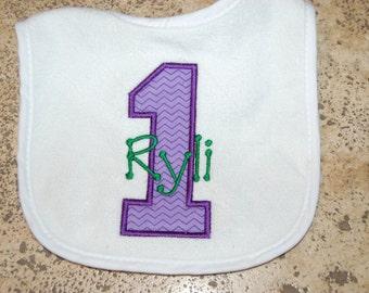 Purple First Birthday Chevron 1 Bib with Personalized Name