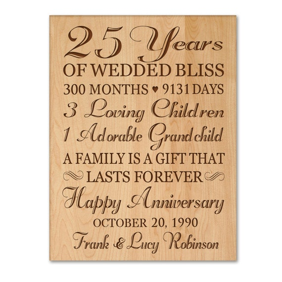 What Is The 25th Wedding Anniversary Gift: Personalized 25th Anniversary Gift For By DaySpringMilestones