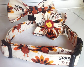 Thanksgiving Turkey Collar for Dogs & Cats with Available Matching Bow Tie or Collar Flower