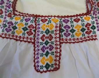 Mexican Blouse Tunic Yellow Purple Red Heart Geometric Embroidered Large L XL