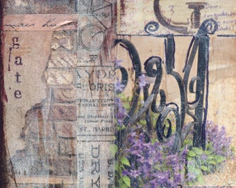 Garden Gate Mixed Media - 6x6, 8x8 and 12x12 Print of Original