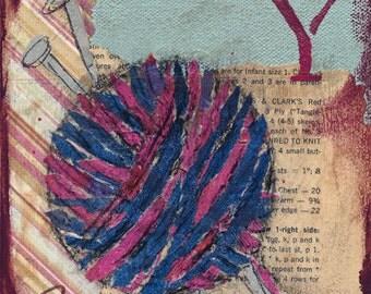 Yarn Mixed Media - 6x6, 8x8 and 12x12 Print of Original
